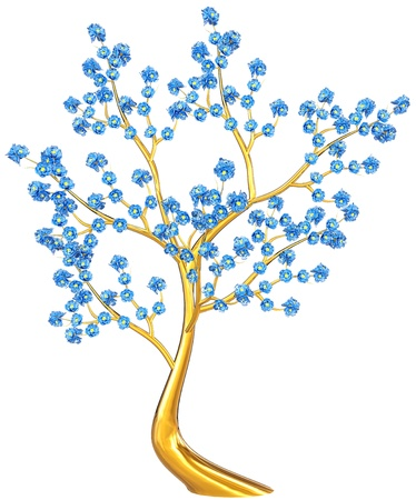 Beautiful golden tree with expensive blue flowers as jewelry Stock Photo - 18029259