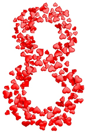 digit eight consisting of red hearts as element of decorations for March 8  International Women s Day Stock Photo - 18407491