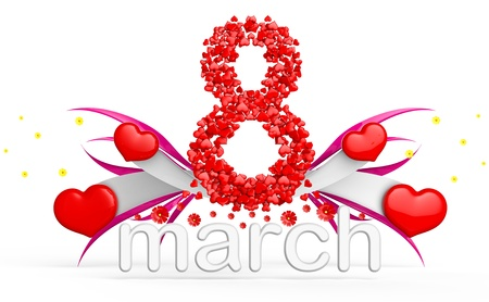 digit eight consisting of red hearts as element of decorations for March 8  International Women s Day Stock Photo - 18407489