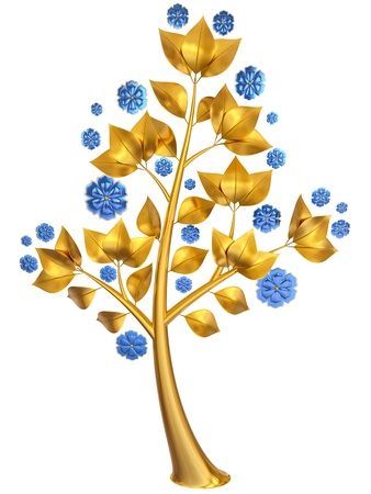 Beautiful golden tree with expensive blue flowers as jewelry Stock Photo - 18681393