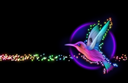 humming: 3d render of colibri bird - hummingbird striped silhouette with stars