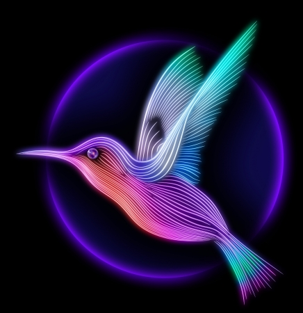 3d render of colibri bird - hummingbird striped silhouette Stock Photo
