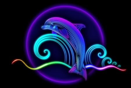 Beautiful swimming dolphin jumped from blue tropical ocean and slides on waves with bubbles and splashes of water Stock Photo - 19090435