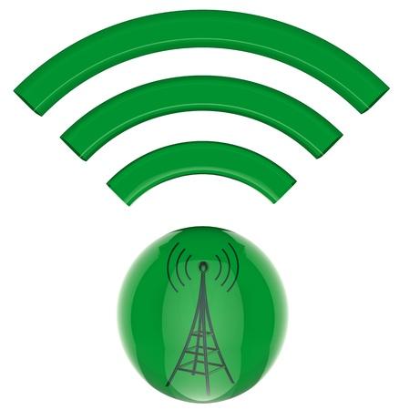 3D model, button  Digital transmitter sends information signals Stock Photo - 21499815