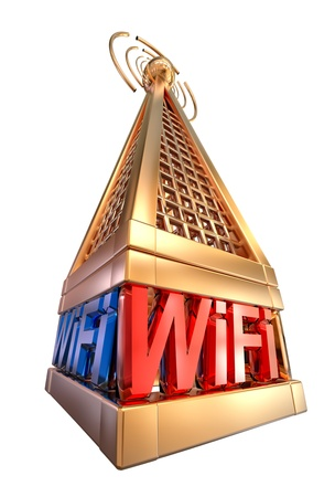 Powerful digital transmitter for mobile and multimedia broadcast sends wi-fi signals from high tower Stock Photo - 21504063