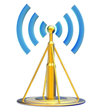 Powerful digital transmitter for TV, mobile and multimedia broadcast sends information signals from high tower Stock Photo - 21548257