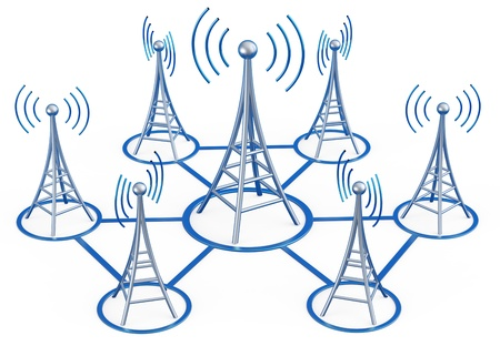 radio frequency: Powerful digital transmitters for TV, mobile and multimedia broadcast sends information signals from high tower Stock Photo