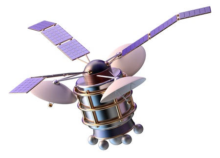 artificial satellite: 3D model of an artificial satellite of the Earth, equipped solar panels and parabolic satellite communications antenna