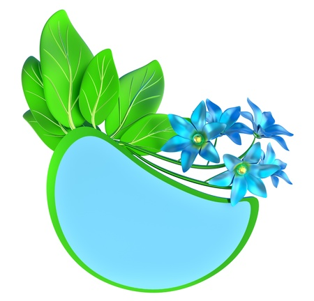 Green and blue form with leafs and flowers photo
