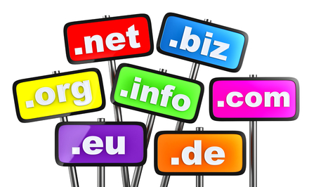 domains: Set of signs with domains as buttons for searching in the Internet and social networks on a white background Stock Photo