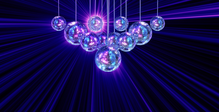 mirrored: Colorful funky background with mirrored glitter disco balls for party
