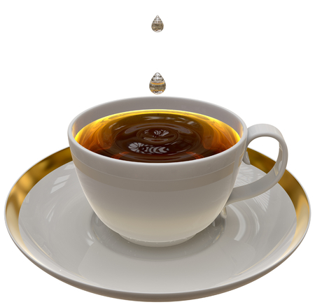 Cup of tea or coffee on a saucer on white background