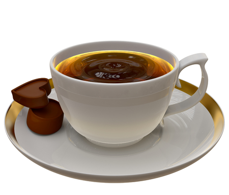 poured: Cup of tea or coffee on a saucer with two pieces of chocolate on white background