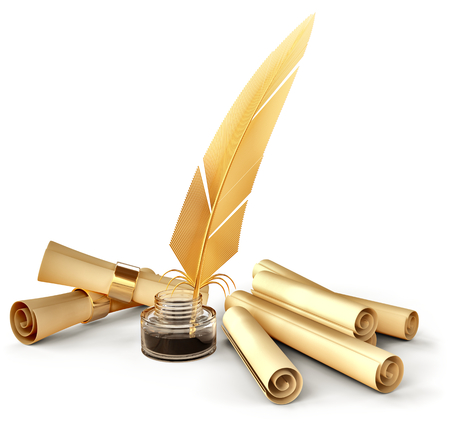 pen and paper: old-fashioned gold feather with ink and blank scrolls for writing business correspondence letters at old times