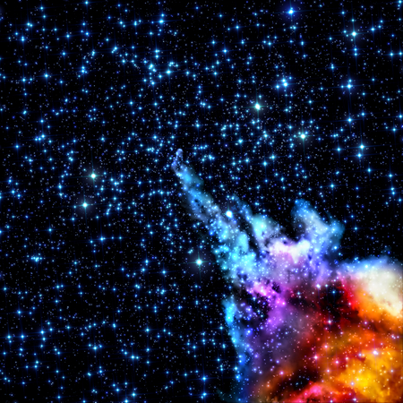 astrophoto: stars shine through the clouds of a old nebula
