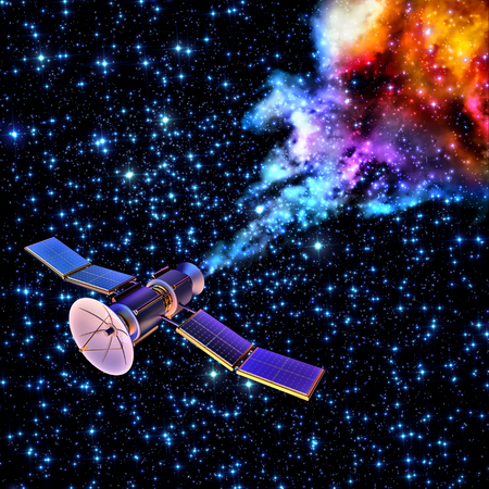 artificial satellite: 3D model of an artificial satellite of the Earth, equipped solar panels and parabolic satellite communications antenna, has burned up and fragmented when re-entered to the Earth's atmosphere Stock Photo