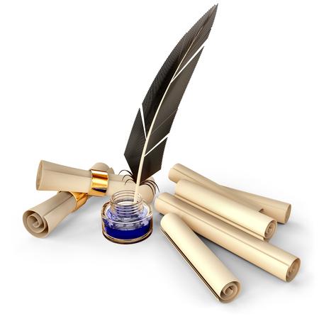 pluma: pluma pasada de moda con las volutas de tinta y en blanco para escribir cartas de correspondencia de negocios en los viejos tiempos