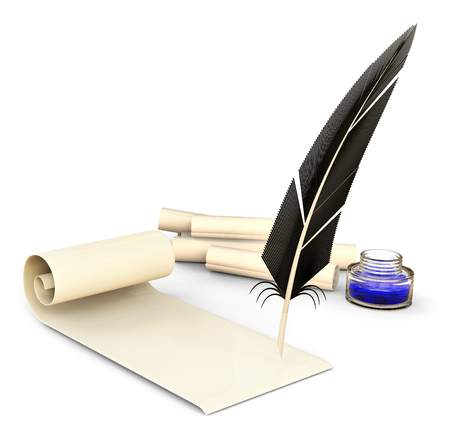 demode: old-fashioned feather with ink and blank scrolls for writing business correspondence letters at old times