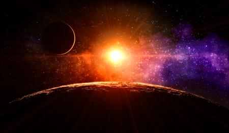 sunshine: Amanecer en la Luna sin atm�sfera en la �rbita alrededor de gas planeta extrasolar gigante que orbita una estrella similar al Sol Foto de archivo