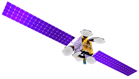 artificial satellite: 3D model of an artificial satellite of the Earth, equipped with solar panels and parabolic satellite communications antenna