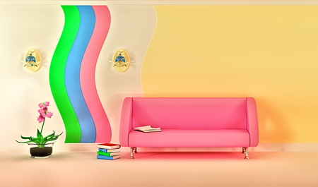 sconce: empty sunny stylish minimalist modern living room with pink sofa, sconce and pink flower