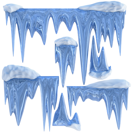 thawing: set of hanging thawing and melting blue dripping icicles, as a shiny crystal glass, with crisp spikes in icy winter season time from freezer make around arctic frost with icing on the scene Stock Photo