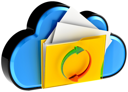 remote backup service: concept of cloud computing and circulation digital documents as is blue glossy cloud icon with folder and documents on white background Stock Photo