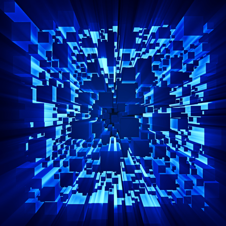 ray trace: rays of light shines through the moving cubes as abstract futuristic dark background Stock Photo
