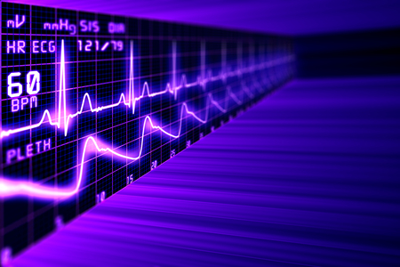throbbing: Heart rate with ECG graph on the futuristic medical monitor in the cyberspace. 3D background