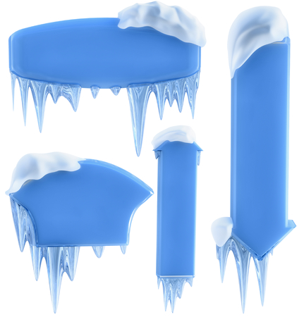 icily: set of banners with snow and icicles, as a symbol winter holidays
