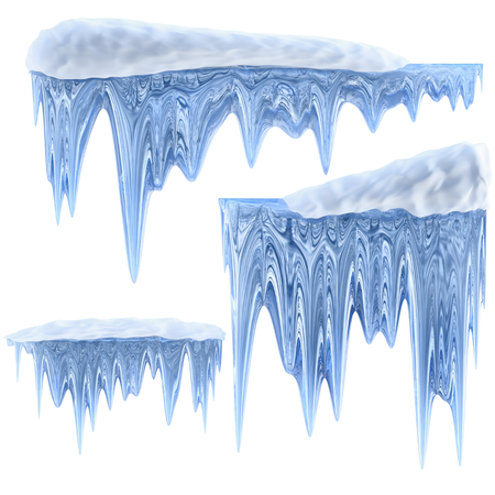 dilute: set of hanging thawing and melting blue dripping icicles, as a shiny crystal glass, with crisp spikes in icy winter season time from freezer make around arctic frost with icing on the scene Stock Photo