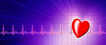 cardiological: Heart rate with ECG graph on the futuristic medical monitor in the cyberspace. 3D background