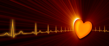 throbbing: Heart rate with ECG graph on the futuristic medical monitor in the cyberspace. Stock Photo