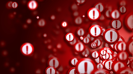 denunciation: Group of signs with exclamation marks on a red backdrop, as a concept and warning sign of the wrong choice from the internet community in cyberspace. Abstract futuristic horizontal background. Stock Photo