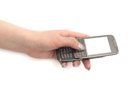 Mobile phone in the hand isolated on white Stock Photo - 6786731