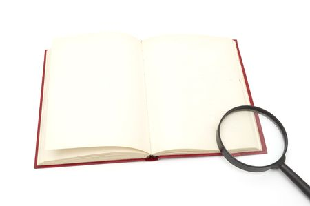 magnifier and book isolated on a white background Stock Photo - 6784882