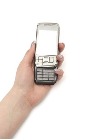 Mobile phone in the hand isolated on white Stock Photo - 6786473