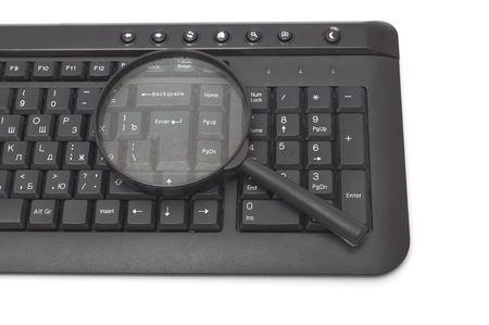 Magnifying glass, button, key Stock Photo - 6785072