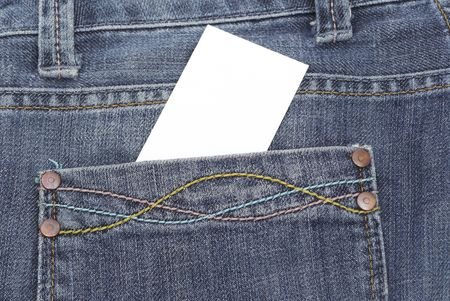 jean texture with pocket and empty card photo