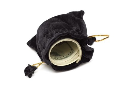 small black leather empty open bag case whith dollar Stock Photo - 6784840