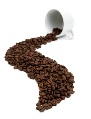 cup of coffee with coffee beans on white Stock Photo - 8413372