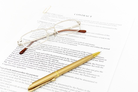 Contract with glasses and pen ready to be signed Stock Photo - 8413661
