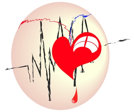 plastic heart: cuore rosso di plastica con una linea bianca Alba Vettoriali