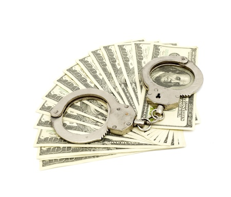 wristlets: Handcuffs on money background, business security concept