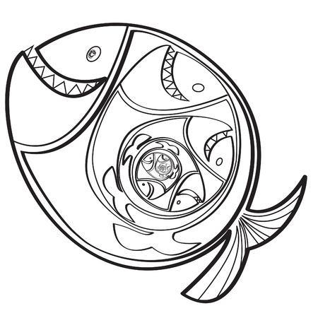 grande e piccolo: Big fish mangiare un piccolo pesce. Illustrazione vettoriale.