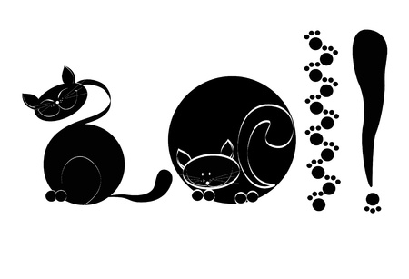 There is a black cat on a white background a close up Vector