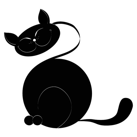 there: There is a black cat on a white background a close up Illustration