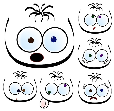 ilustration of abstract cartoons. Different faces with emotions. Stock Vector - 8471482