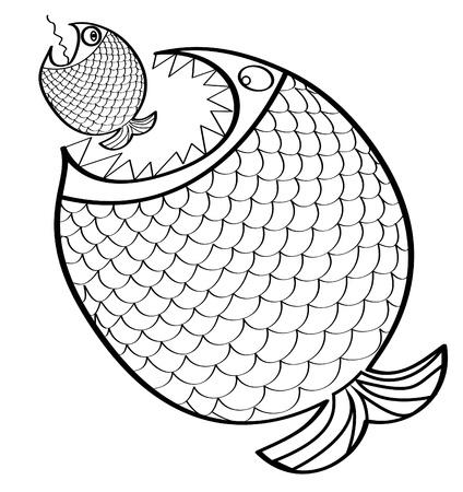 Big fish mangiare un piccolo pesce. Illustrazione vettoriale.