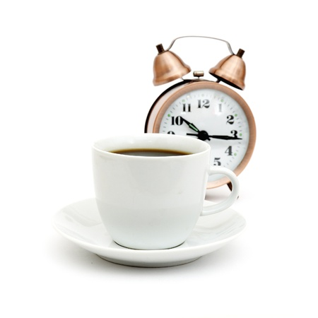 vintage alarm clock and white coffee cup Stock Photo - 8471293